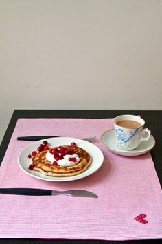 American pancakes with vanilla curd, red currants, cranberry and honey.