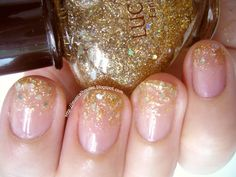 Simple Gold Glitter Gradient Christmas Nails - Of Faces and Fingers