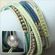 Herringbone Wrap Bracelet- Spearmint