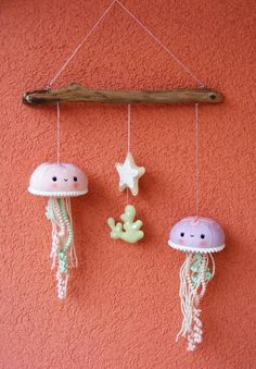 Cute jellyfish mobile Felt mobile ornaments on a sea