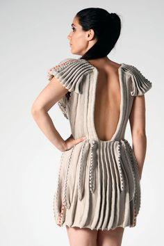'Align' knitted dress by Melbourne textile designer Bree Ellett. Photo by Julia Van der Linden. 2013 #knitwear