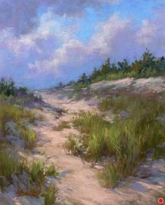Clouds Over Dunes by Lana Ballot, Pastel, 10 x 8 Chalk Pastel Art, Pastel Artwork, Chalk Pastels, Soft Pastels, Pastel Landscape, Landscape Art, Landscape Paintings, Paintings I Love, Seascape Paintings