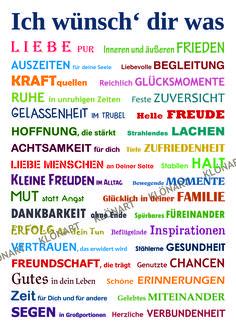 KLÖNART - Kartenkunst und mehr Postkarte Buchstaben + Worte ICH WÜNSCH DIR WAS kontakt@kloenart.de www.facebook.com/kloenart