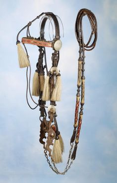Early 19th C Leather and Horsehair Bridle - High Noon Western Americana