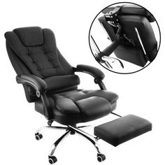 OrangeA High Back Office Chair Ergonomic PU Leather Executive Office Chair 360 Degree Swivel Reclining Office Chair with Footrest Black Computer Desk Chair (Executive chair) Small Office Furniture, Cool Office Desk, High Back Office Chair, Black Office Chair, Office Desks, Outdoor Furniture Chairs, Wood Furniture, Furniture Ideas, Wooden Chairs