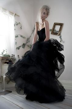 How do you imagine a Halloween wedding dress? If the couple decided to have an original Halloween-inspired wedding, then a unique dress of black or bright Halloween Wedding Dresses, Colored Wedding Dresses, Bridal Gowns, Wedding Gowns, Wedding Frocks, Lace Wedding, Gothic Wedding, Paolo Sebastian, Strapless Dress Formal