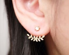 Gold Cubic Zirconia Leaf Ear Jacket Earrings by ChinChinsBoutique
