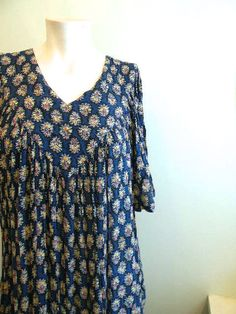 vintage. Blue Gauze Rayon Tent Dress / S to L by styleforlife, $42.25