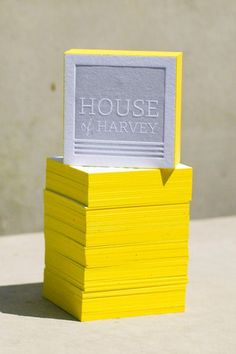 Who says business cards need to be rectangular? House of Harvey blogger Stephanie broke the mold, turning to Presshaus LA to make her sunny, square letterpress cards with painted edges.