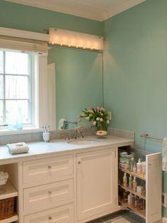 Hidden Drawer - 18 Savvy Bathroom Vanity Storage Ideas on HGTV. I want that in my bathroom! Bathroom Vanity Storage, Laundry In Bathroom, Master Bathroom, Bathroom Vanities, Bath Storage, Bathroom Cabinets, White Bathroom, Bathroom Organization, Bathroom Vanity With Drawers