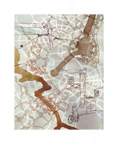 """Composite 1 (Somerville/Governor's Island): Emily Garfield's art is a pen-and-watercolour exercise in the cartography of imaginary places. Her drawings """"are inspired by the visual language of maps, as well as the fractal similarity that cities share with biological processes such as the patterns of cells and neurons."""""""