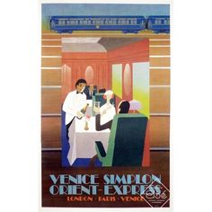 Poster of the Venice Simplon Orient Express by Pierre Felix Masseau