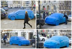 Commuters and traffic wardens were surprised to see a life-size replica of a car made from 1.5 tonnes of Play-Doh parked up in a London street. The hand-crafted sculpture was created by a team of eight model makers over a two week period to mark the UK launch of the new Chevrolet Orlando family-friendly seven-seater car.