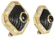Dior Black Lucite & Faux-Onyx Earrings - Carrie's Couture - Brands  One Kings Lane #Faux#Onyx#Lucite Traditional Living Room Furniture, Dior, Lane, Carrie, Rings For Men, Couture, Earrings, Jewelry, Fashion