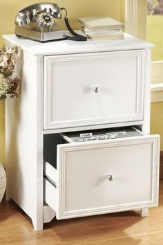 Not your average filing cabinet. Imagine what you can do if you give this a fresh coat of paint!