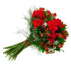 Buquê de rosas vermelhas e astromérias.