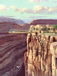『美國亞利桑那州』在大峽谷上的透明天橋