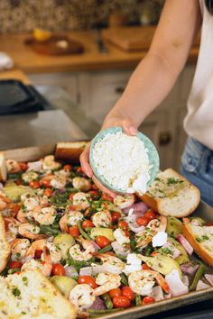Mediterranean Shrimp Recipe, Mediterranean Dishes, Shrimp Recipes, Fish Recipes, Food Network Recipes, Cooking Recipes, Cooking Ideas, Greek Shrimp, Shrimp And Vegetables