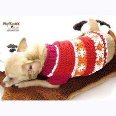 flower crocheted summer red orange by myknitt #handmade #myknitt #crochets #chihuahua #pets #etsy #tagt