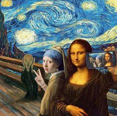 A famous painting ART selfie. The Scream by Edvard Munch, Starry Night by Vincent van Gogh, Girl With a Pearl Earring by Johannes Vermeer and Mona Lisa by Leonardo da Vinci. Art Pop, Art Du Collage, Street Art, Mona Lisa Parody, Photocollage, Funny Art, Funny Pics, Funny Pictures, Funny Memes