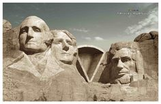 """Trivial Pursuit - Mount Rushmore ad. There's nothing better for a creative campaign than a client that owns a """"shape""""."""
