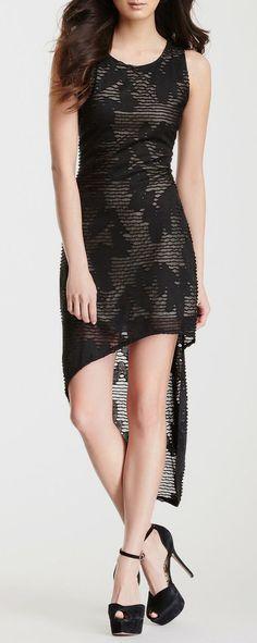Distressed Pattern Hi-Lo Dress
