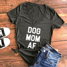 Women Dog Mom AF V-Neck T-Shirt Letters Printed Casual Deep V-Neck Top Short Sleeve Basic Tee Fashion 2017 Femme Harajuku Tops