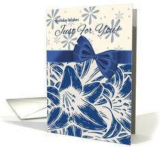 Floral Lily Birthday Card With Pretty Bow card (1136766)