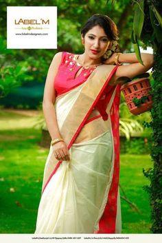 Kerala saree by label 'm Lehanga Saree, Phulkari Saree, Kasavu Saree, Silk Sarees, Kerala Saree Blouse Designs, Half Saree Designs, Saree Blouse Patterns, Dress Patterns, Bandhini Saree