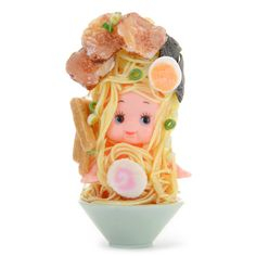 """We know this ramen looks delicious, but don't eat it!! It's a cute little doll made using polymer clay! The incredible realism in the noodles and delicious toppings like the narutomaki and egg makes it a standout, and also makes it a bit eerie once you notice the sweet doll's face on the inside! This is a part of the Kewpie series from Otonamiya and is 1.2"""" by 2.8"""", making it perfect for setting u... #tokyootakumode #toy"""