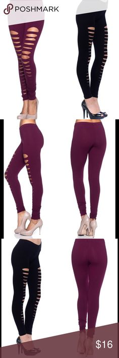 MERLOT OR BLACK CUT OUT LEGGINGS Available in black and a wine colored merlot. Comfort fit design. Very trendy! 95% cotton. 5% spandex. Pants Leggings