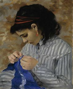 Pierre-Auguste Renoir - Lise Sewing, 1866. Oil on canvas, 55.88 x 45.72 cm. Dallas Museum of Art, Texas, USA