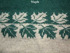 Some brilliant repeating knitting motifs on this page (Maple leaf)