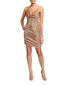 Parker Black Paris Sequin Cowl-neck Mini Dress In Pink Metallic Glitter Dress, Sequin Dress, Club Dresses, Short Dresses, Parker Black, Cowl Neck Dress, Pink Mini Dresses, Material Girls, Spaghetti Strap Dresses