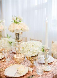 white and gold wedding reception ideas #weddingdecor #2014 #weddingchicks http://www.weddingchicks.com/2014/02/19/glamorous-rose-gold-wedding/
