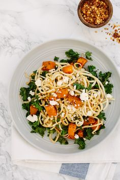 Spiralized Parsnips with Roasted Butternut Squash, Kale and Feta