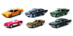 GL HOLLYWOOD - SERIES 3 1:64th Scale (44630) Two-Lane Blacktop (1971) - 1970 Pontiac GTO The Fast and the Furious (2001) - 1970 Dodge Charger with Blown Engine Bullitt (1968) - 1968 Ford Mustang GT Bullitt (1968) - 1968 Dodge Charger RT Apollo 13 (1995) - 1970 Chevrolet Corvette Stingray Animal House (1978) - 1959 Chevrolet Corvette Convertible