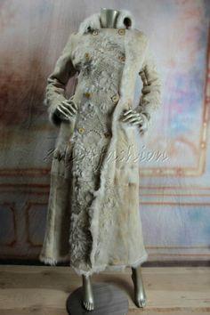 $6150 New ROBERTO CAVALLI Suede Leather Shearling Fur Laser Cut Coat Medium