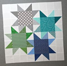enlarged version of block by Judy Martin (block pattern or block; baby quilt is (The block pattern has way fewer seams in the background. Big Block Quilts, Star Quilt Blocks, Star Quilt Patterns, Star Quilts, Scrappy Quilts, Mini Quilts, Pattern Blocks, Texas Star, Quilting Projects