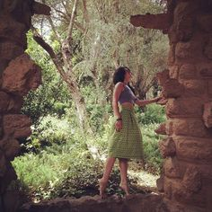 A fairy in Green zebras, at amazing Park Guell.  Ft.The Zebras midi skirt in green, now on Sale!  #zebraskirt #green #skirt #barcelona