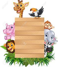 illustration of Cartoon animal africa with wooden sign , Safari Party, Safari Theme, Cute Cartoon Animals, Cartoon Kids, Animal Print Background, Deco Jungle, Boarder Designs, Jungle Theme Birthday, Frame Clipart