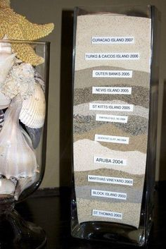 One way to display sand you've collected from different places you've been. On one side of the vase/display case put strips of paper with the name/location of the beach and maybe the date, the other side could show just the sand.