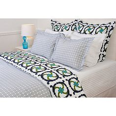 The Katie Duvet Cover combines luxurious softness with unique design to create a truly stand-out bed. This duvet features a whimsical COCOCOZY design in navy that reverses to a coordinating plaid all displayed on 400-thread-count 100% cotton percale.