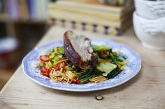 Chinese Five-spice Pork Belly with Chilli Noodles and Asian Greens   DonalSkehan.com make sure to watch the video as well, its great!