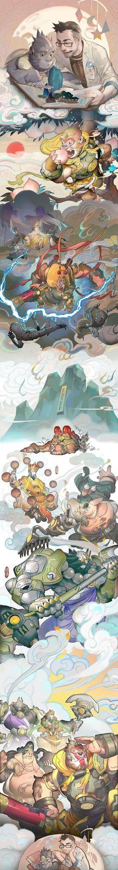 Overwatch ♤♡◇♧ fanart event year of the rooster winston roadhog zenyatta reinhardt Overwatch Comic, Overwatch Fan Art, Overwatch Drawings, Art And Illustration, Illustrations, Overwatch Winston, Photo Manga, Heroes Of The Storm, Game Art