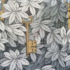 Magical keys wallpaper, gold keys, tarot wreaths, hemetic keys Cole and Son Wallpaper Fornasetti II Collection Chiavi Segrete 97-4047 Slate and Bronze
