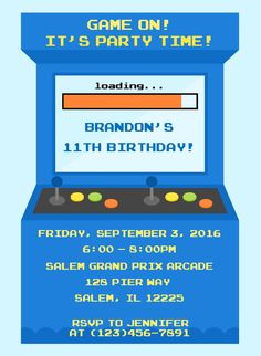 Arcade/Video Game Personalized Birthday Invitation $11 - www.sweetdesignsbyregan.com Are you having an arcade or video game themed birthday party? These invitations are the perfect way to invite your guests to your party! This listing is for a digital file for you to print or take and have printed at the place of your choosing. Nothing will be shipped, a digital file will be emailed to you within 24 hours after y