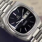 VINTAGE MEN'S OMEGA SEAMASTER AUTOMATIC DAY & DATE BLACK DIAL ANALOG DRESS WATCH