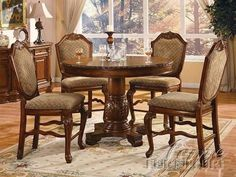 ACME-Furniture-Walnut-Beige-5-pc-Counter-Dining-Set