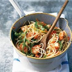 Spaghetti with prawns, lemon, chilli, garlic and rocket recipe. A quick, light and healthy pasta dish that's easy to make and even easier to consume.